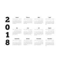 2018 year simple calendar on german language vector