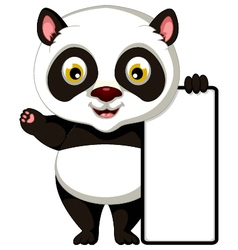 Panda cartoon posing with blank sign vector