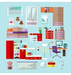Kids bedroom interior objects in flat style vector