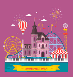 amusement park with attraction and rollercoaster vector image vector image