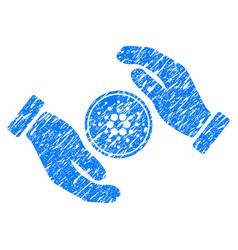 Cardano coin care hands icon grunge watermark vector