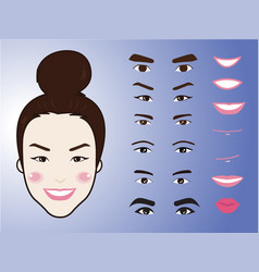 Cartoon cute girl character pack facial emotions vector
