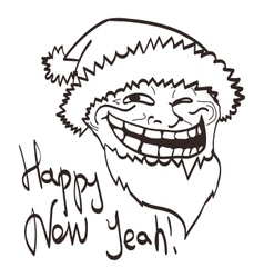 Cartoon meme new year face isolated eps 10 vector
