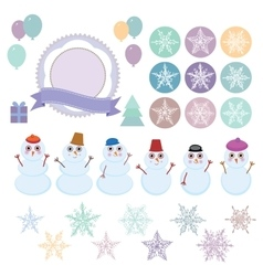 Character set of the new year snowflake funny vector image vector image