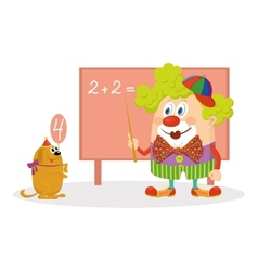 Clown with trained dog vector
