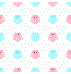 Cute pink and blue owls with stars in the vector
