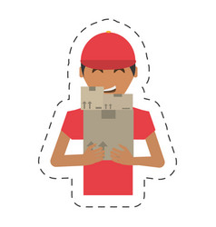 Delivery man package working vector
