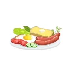 English breakfast european cuisine food menu item vector