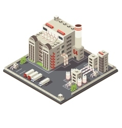 Factory industrial area isometric vector