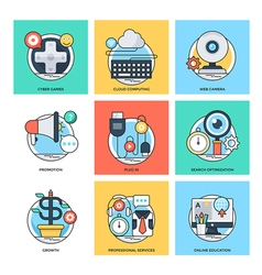 Flat color line design concepts icons 28 vector
