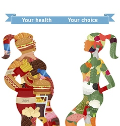 Healthy and unhealthy lifestyle concept vector