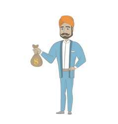 Hindu businessman holding a money bag vector