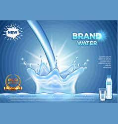 Pouring water ads realistic background vector