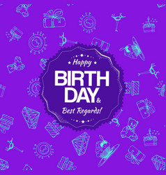 Purple birthday seamless pattern with hand drawing vector
