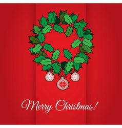 Red christmas greeting card with holly wreath vector