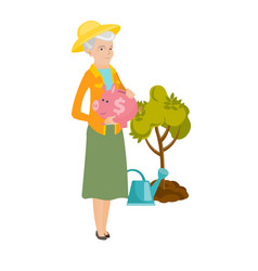 Senior caucasian farmer holding a piggy bank vector
