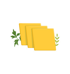 Sliced pieces of cheddar cheese with green ginger vector