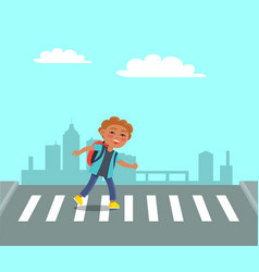Smiling boy at crosswalk on urban city background vector