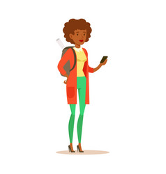 student girl in casual clothes with backpack vector image