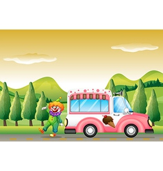 The clown and the pink icecream bus vector