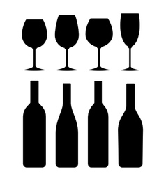 Bottle and glass icon set vector