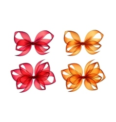 Set of Colored Orange Red Gift Bows on Background vector image