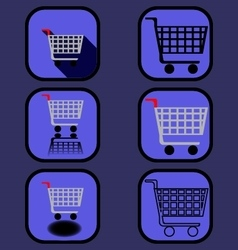 Supermarket cart icons set vector