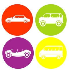 Monochrome icon set with car vector