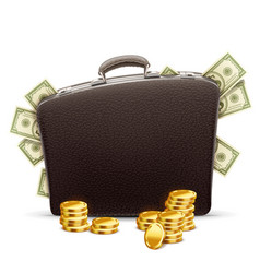 Business briefcase full of money vector