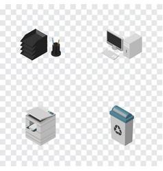 Isometric cabinet set of desk file rack computer vector