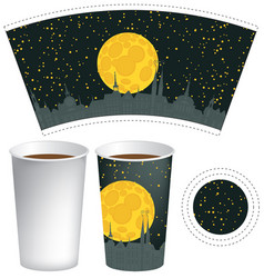 Template paper cup with background of night town vector