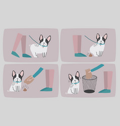 Clean after your dog set of consecutive cartoon vector