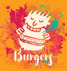 Banner for burger on the abstract background vector