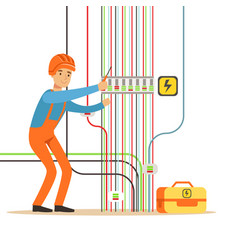 Electrician engineer in uniform repairing vector