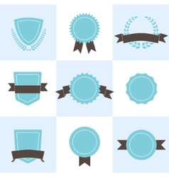 Set of badges shields and wreaths vector