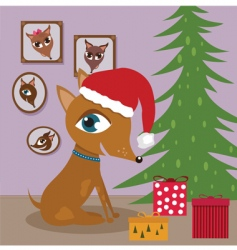 Dog with christmas presents vector