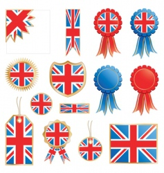 Great britain flags and rosettes vector
