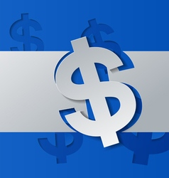 Dollar sign cut from white paper on blue vector