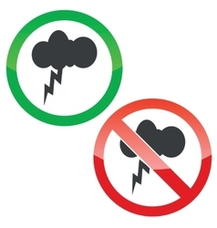 Thunderstorm permission signs set vector