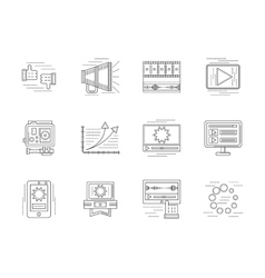 Linear icons set for video blogging vector