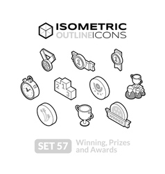 Isometric outline icons set 57 vector