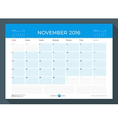 November 2016 monthly calendar planner for 2016 vector