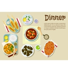 Fresh prepared weekend dinner flat icon vector