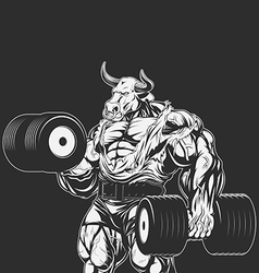 Strong bull with dumbbells vector