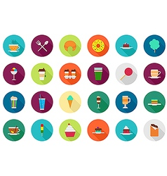 Cafeteria food round icons set vector