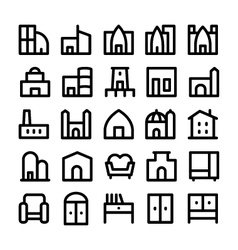 Buildings and furniture icons 5 vector