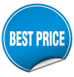Best price round blue sticker isolated on white vector