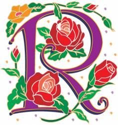 rosette letter R vector image