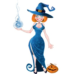 Pretty witch with fireball in blue dress and vector
