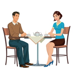 Young couple drinking tea at the table vector
